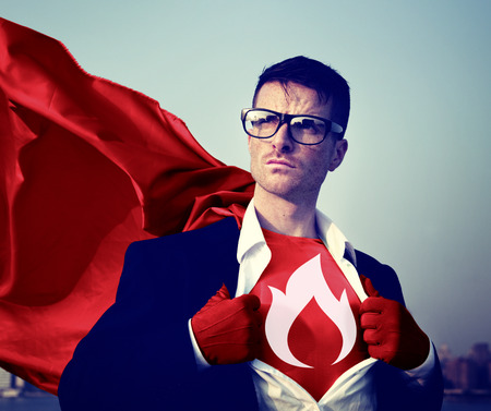 superman: Strong Superhero Businessman Fire Concepts Stock Photo