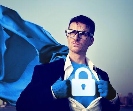 changing form: Strong Superhero Businessman Padlock Concepts