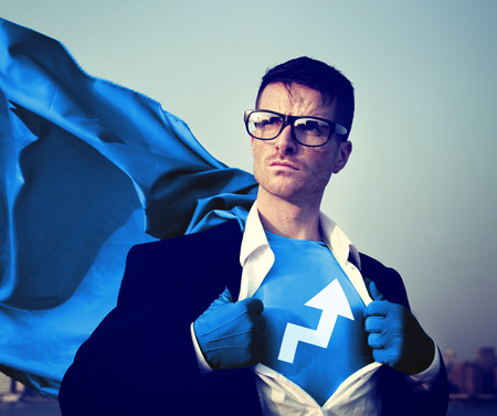changing form: Strong Superhero Businessman Development Concepts Stock Photo