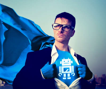 robot with shield: Robot Strong Superhero Success Professional Empowerment Stock Concept
