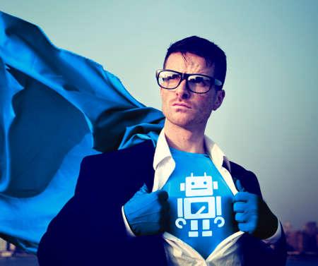 empowerment: Robot Strong Superhero Success Professional Empowerment Stock Concept