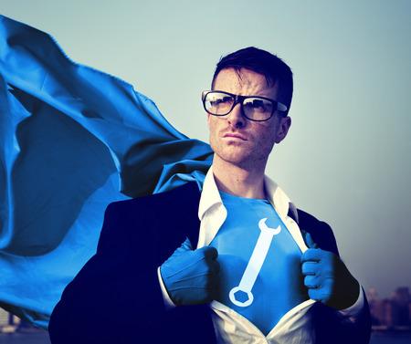 Moersleutel Sterk Superhero-Succes Professioneel Bekrachtiging Voorraadconcept Stockfoto