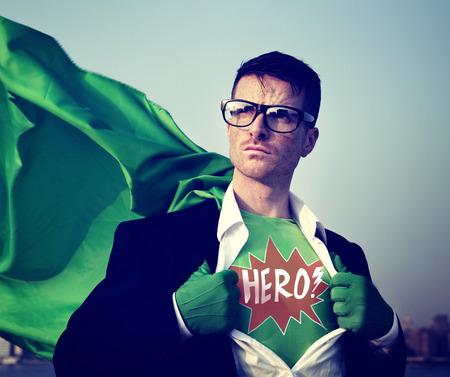 empowerment: Superhero Businessman Hero Comic Explosion Concept