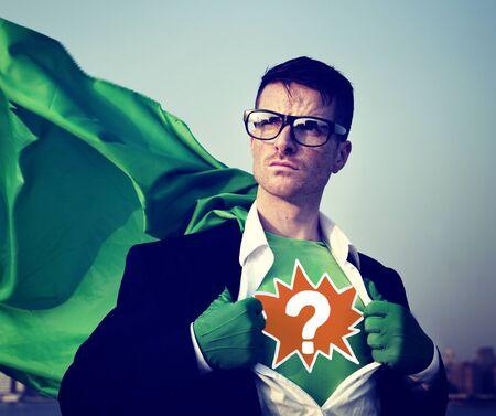 punto interrogativo: Question Mark Strong Superhero successo professionale responsabilizzazione Stock Concept