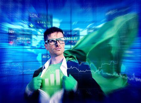empowerment: Bar Graph Strong Superhero Success Professional Empowerment Stock Concept