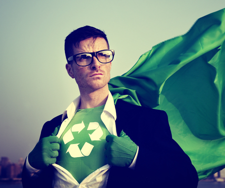 changing form: Superhero With Recycling Symbol on Outfit