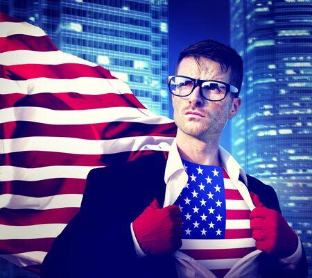 courage: Superhero Businessman American Flag Patriotism National Flag Concept