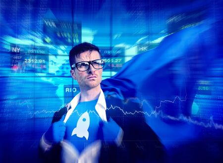 stock market launch: Rocket Strong Superhero Success Professional Empowerment Stock Concept