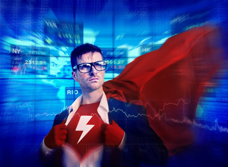 winning stock: Thunderbolt Strong Superhero Success Professional Empowerment Stock Concept