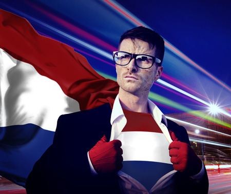 netherlands flag: Superhero Businessman Netherlands Flag Patriotism National Flag Concept Stock Photo