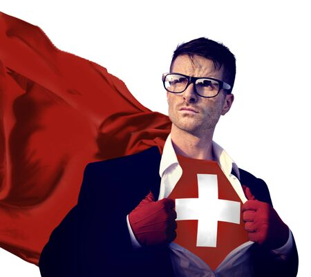 swiss culture: Businessman Superhero Country Switzerland Flag Culture Power Concept