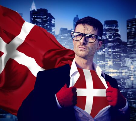 denmark flag: Businessman Superhero Country Denmark Flag Culture Power Concept