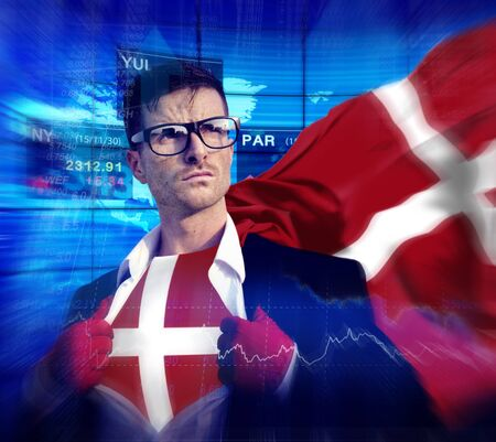 winning stock: Businessman Superhero Country Denmark Flag Culture Power Concept