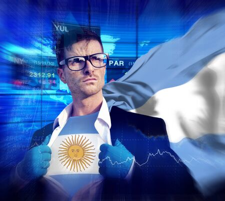 Businessman Superhero Country Argentina Flag Culture Power Concept photo