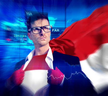 national flag indonesian flag: Businessman Superhero Country Indonesia Flag Culture Power Concept Stock Photo