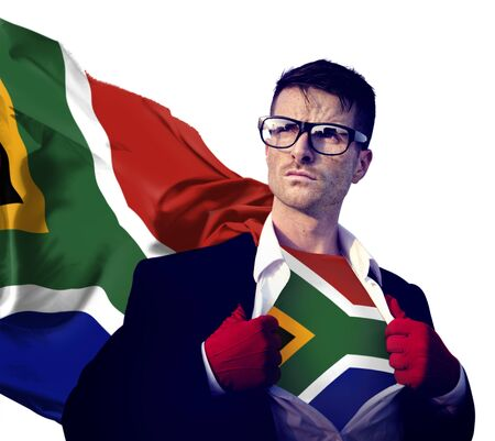 south africa flag: Businessman Superhero Country South Africa Flag Culture Concept Stock Photo