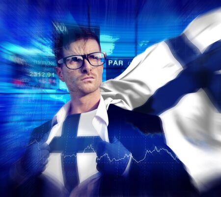 winning stock: Businessman Superhero Country Finland Flag Culture Power Concept Stock Photo