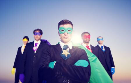 superhero: Businessmen Superhero Aspirations Skyline Success Concept