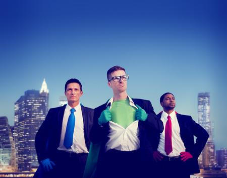 Superhero Businessmen Cityscape Team Concept Stock Photo