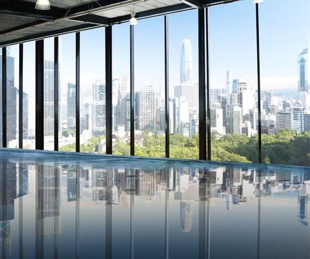 view window: Urban Scene Skyline Morning View Metropolis Concept Stock Photo