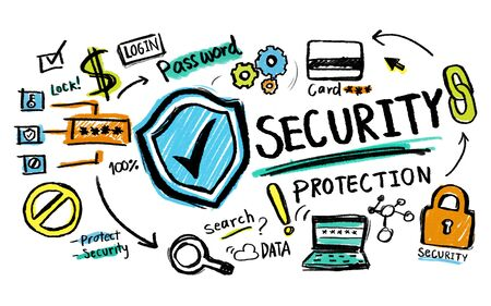 financial protection: Security Protection Lock Network Firewall Concept