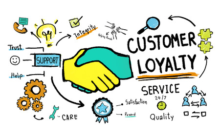 Customer Loyalty Service Support Care Trust Tools Concept Stock fotó