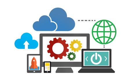 technology concept: Cloud Data Storage Database Online Technology Concept