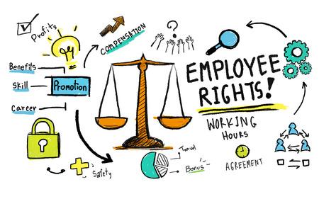 seguridad en el trabajo: Derechos de los empleados igualdad en el empleo empleo Reglas Ley Concepto Foto de archivo