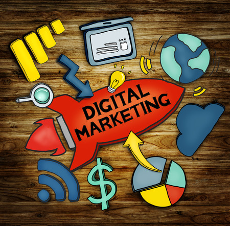 marketing target: Digital Marketing Network Strategy Planning Concept