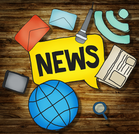 headline news: Illustration News Station communication networking concept