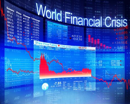 세계 금융 위기 경제 주식 시장 은행 개념