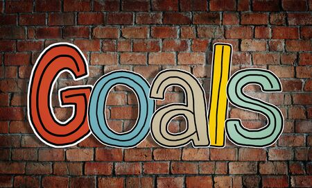 Word Goals on a Brick Wall Background photo
