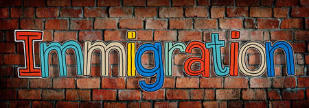 single word: Single Word Colorful Immigration Concept