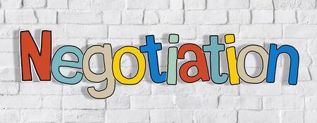 negociacion: Negociación Pared de ladrillo Una palabra de fondo del texto Clean Concept