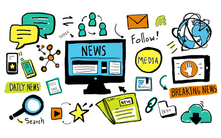 News Breaking News Daily News Follow Media Searching Concept Stock Photo