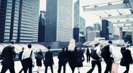 bustle: Commuter Buiness People Corporate Cityscape Walking Travel Concept