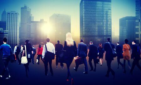bustle: People Commuter Walking Rush Hour Cityscape Concept