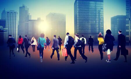 bustle: Commuter Business District Walking Crowd Cityscape Concept