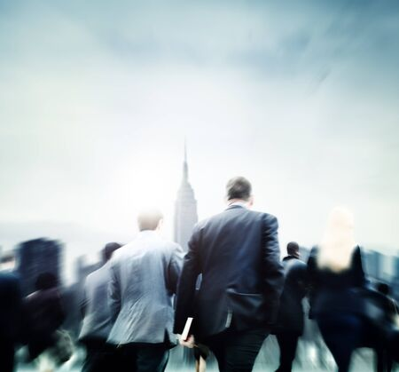 people walking: Business People Commuter Rush Hour City Concept Stock Photo