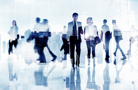 cityscape silhouette: Commuter Business People Cityscape Corporate Travel Concept
