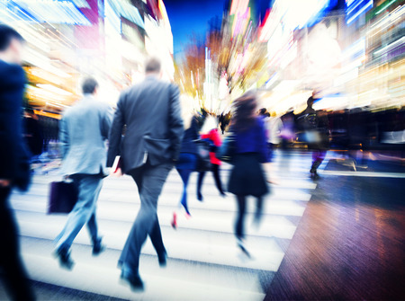 Business People Walking Commuter Travel Motion City Concept Stok Fotoğraf