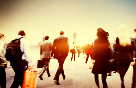 People Commuter Walking Rush Hour Traveling Concept