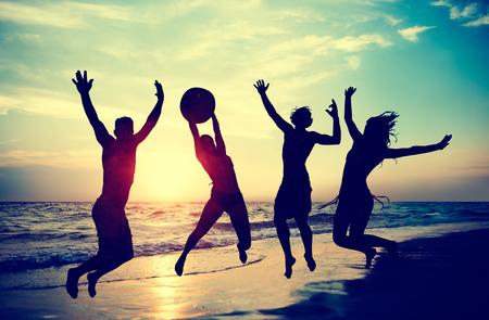 vacanza al mare: Persone Celebration Beach Party Estate concetto di vacanza per le vacanze Archivio Fotografico