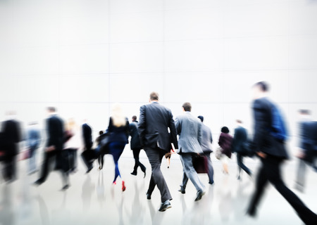 walking: Business People Walking Commuter Travel Motion City Concept Stock Photo