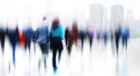 commuting: Business People Rush Hour Walking Commuting City Concept