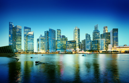 singapore city: Cityscape Singapore Panoramic Night Concept