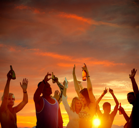 celebration party: People Celebration Beach Party Summer Holiday Vacation Concept