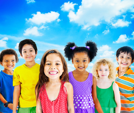 Kids Children Diversity Happiness Group Cheerful Concept Stock Photo