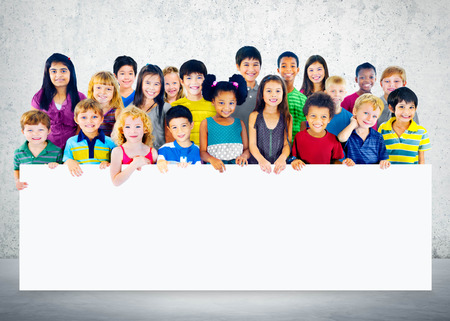 ethnic diversity: Kids Children Diversity Happiness Whiteboard Cheerful Concept Stock Photo