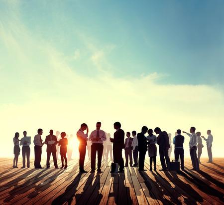 Contre-jour Gens d'affaires Discussion Skyline Concept